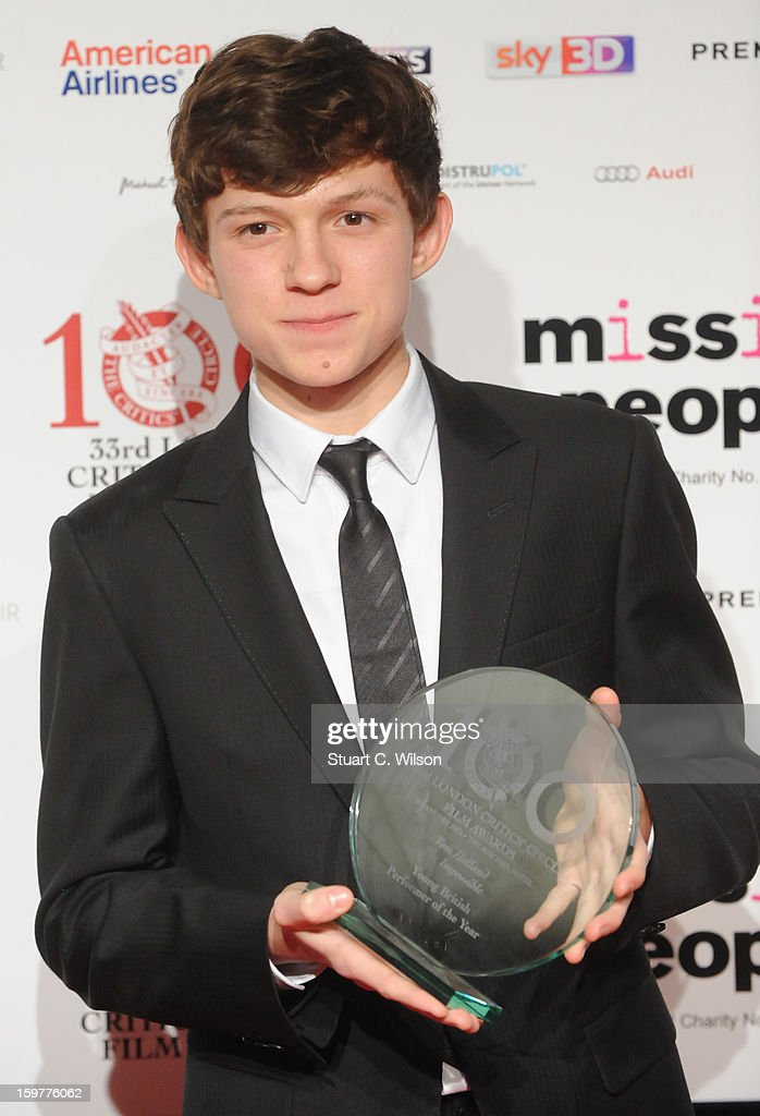 Tom Holland poses in the press room at the London Critics' Circle Film Awards at The Mayfair Hotel on January 20, 2013 in London, England.