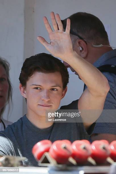 Tom Holland seen filming a new Spiderman movie in Bishop's Stortford on July 2 2018 in London England
