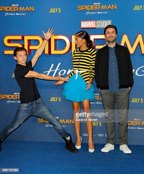 Tom Holland Zendaya and Jon Watts attend the SpiderMan Homecoming photocall at The Ham Yard Hotel on June 15 2017 in London England
