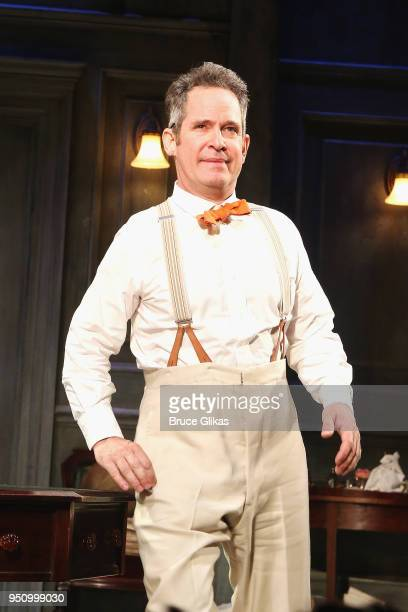 Tom Hollander at the opening night curtain call for Tom Stoppard's play 'Travesties' on Broadway at The American Airlines Theatre on April 24 2018 in...