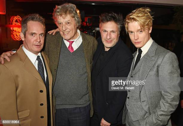 Tom Hollander Sir Tom Stoppard Patrick Marber and Freddie Fox attend the press night after party for 'Travesties' at 100 Wardour St on February 15...