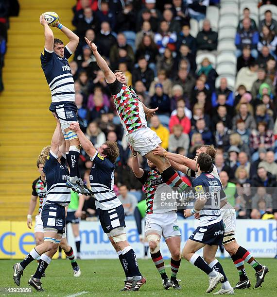 Tom Holmes of Sale Sharks wins the ball in the line-out during the Aviva Premiership match between Sale Sharks and Harlequins at Edgeley Park on May...