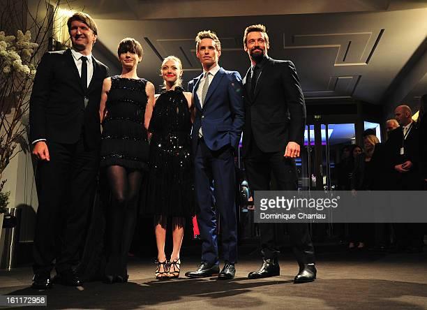 Tom Hooper Anne Hathaway Amanda Seyfried Eddie Redmayne and Hugh Jackman attend the 'Les Miserables' Premiere during the 63rd Berlinale International...