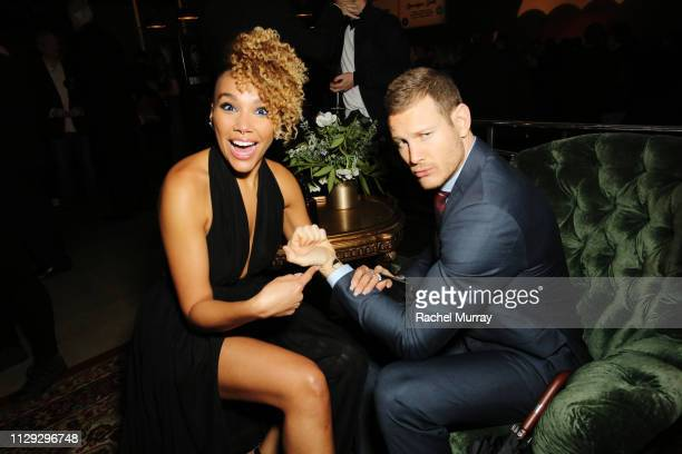 Tom Hopper and Emmy RaverLampman attend The Umbrella Academy Premiere on February 12 2019 in Hollywood California
