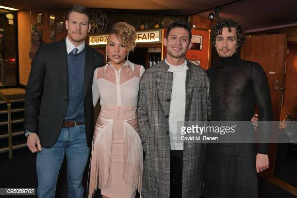 Tom Hopper Emmy RaverLampman David Castaneda and Robert Sheehan attend a photocall for new Netflix series The Umbrella Academy at The Curzon Mayfair...