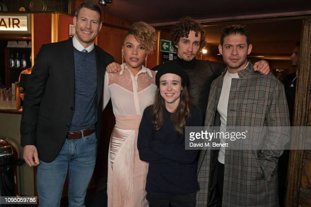 Tom Hopper Emmy RaverLampman Ellen Page Robert Sheehan and David Castaneda attend a photocall for new Netflix series The Umbrella Academy at The...
