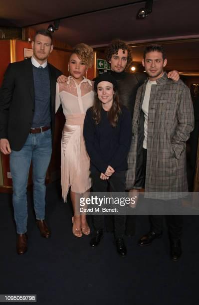 Tom Hopper Emmy RaverLampman Ellen Page Robert Sheehan and David Castaneda attend a photocall for new Netflix series The Umbrella Academy at The...