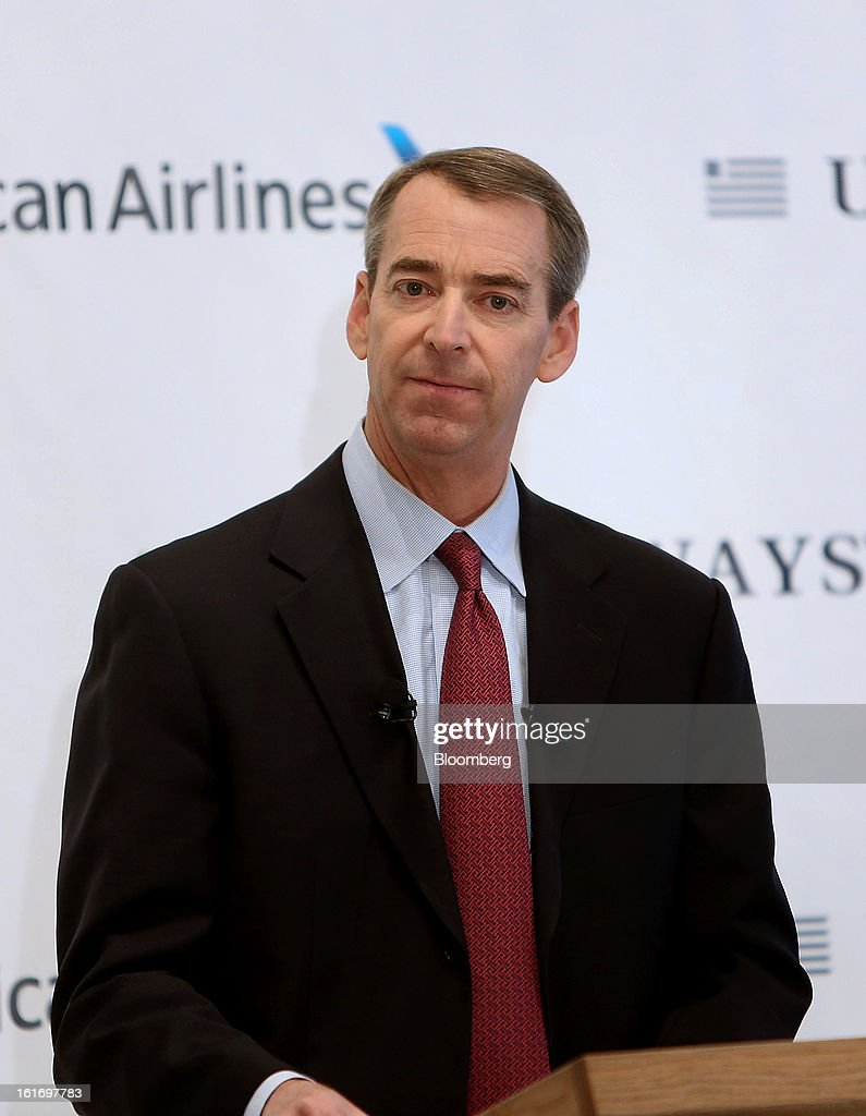 Tom Horton, president and chief executive officer of AMR Corp.'s American Airlines, speaks during a press conference at Dallas Fort Worth Airport in Fort Worth, Texas, U.S., on Thursday, Feb. 14, 2013. US Airways Group Inc., spurned in three prior merger attempts, will combine with bankrupt AMR Corp.'s American Airlines in an $11 billion all-stock deal to create the world's largest carrier. Photographer: Mike Fuentes/Bloomberg via Getty Images