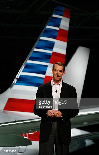 Tom Horton president and chief executive officer of AMR Corp's American Airlines speaks during an event at DallasFort Worth International Airport in...