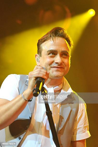 Tom Howar of Mike And The Mechanics at Sheffield City Hall on April 11, 2015 in Sheffield, United Kingdom.