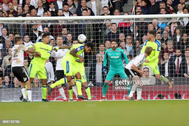 Tom Huddlestone of Derby County clears the ball from a Fulham corner during the Sky Bet Championship Play Off Semi Final Second Leg on May 14 2018 at...