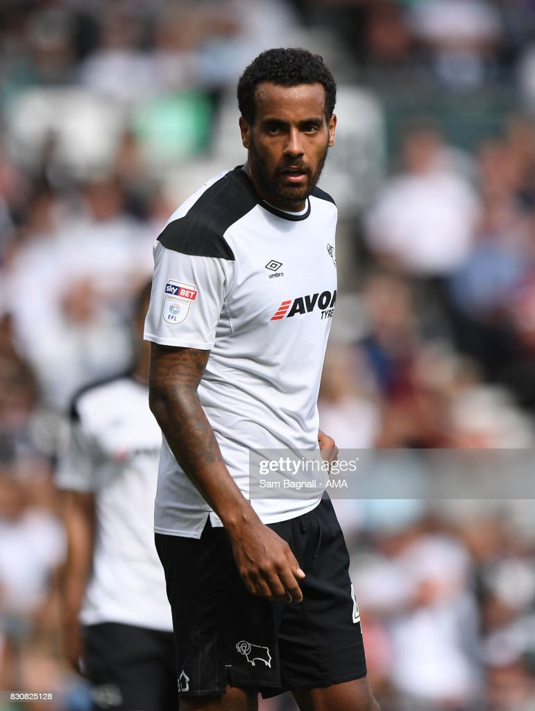 Tom Huddlestone of Derby County during the Sky Bet Championship match between Derby County and Wolverhampton at iPro Stadium on August 12, 2017 in Derby, England.