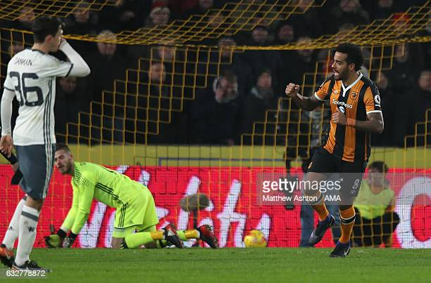 Tom Huddlestone of Hull City celebrates scoring the first goal from a penalty to make the score 1-0 during the EFL Cup Semi-Final second leg match...