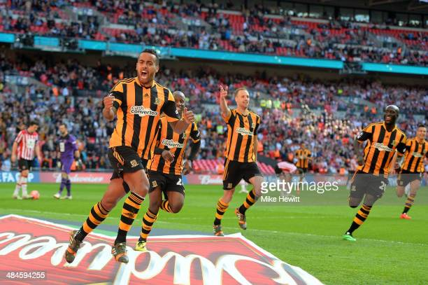 Tom Huddlestone of Hull City celebrates scoring their third goal during the FA Cup with Budweiser semifinal match between Hull City and Sheffield...