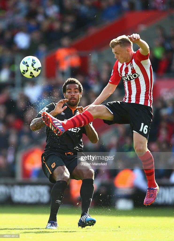 Tom Huddlestone of Hull City is beaten to the ball by James Ward-Prowse of Southampton during the Barclays Premier League match between Southampton and Hull City at St Mary's Stadium on April 11, 2015 in Southampton, England.