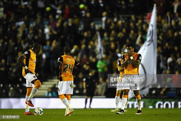 Tom Huddlestone of Hull City reacts after Derby County score to make it 20 during the Sky Bet Championship match between Derby County and Hull City...