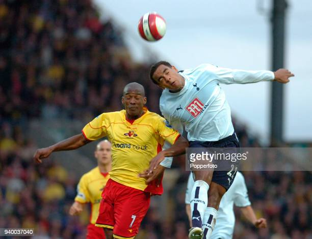 Tom Huddlestone of Tottenham Hotspur and Damien Francis of Watford in action during the Barclays Premiership match between Watford and Tottenham...
