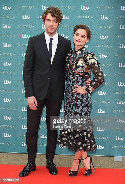 Tom Hughes and Jenna Coleman arrive for the premiere screening of ITV's 'Victoria' at The Orangery on August 11 2016 in London England