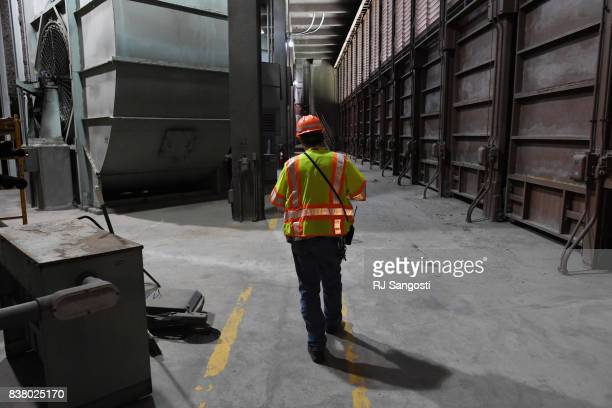 Tom Hurst employee of Colorado Department of Transportation leads a tour inside the working of the Eisenhower Tunnel on August 23 2017 in Colorado