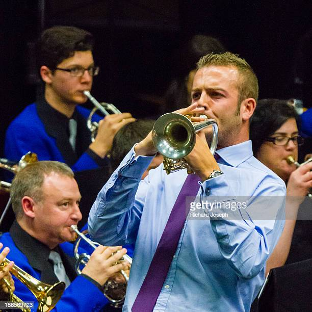 Tom Hutchinson, Principal cornet with Cory Brass Band of Wales plays with The North Shore Brass Band in Auckland, New Zealand in a combined concert...
