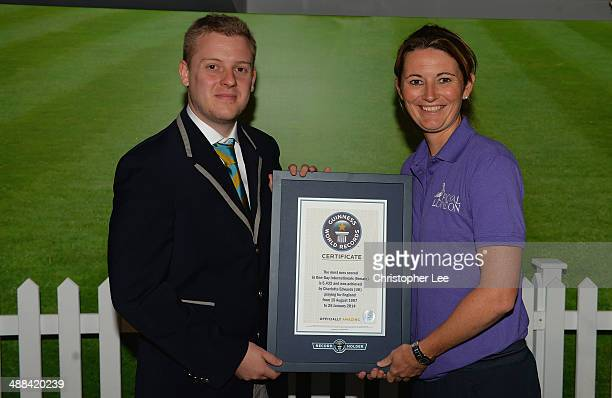 Tom Ibison of Guinness World Records presents England Women's Captain Charlotte Edwards with her Guinness World Record Certificate for the Most Runs...
