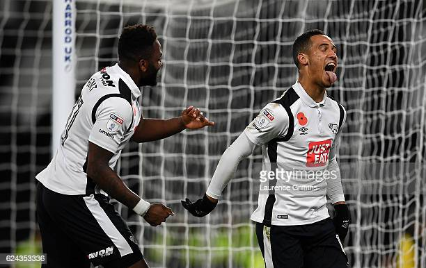 Tom Ince of Derby County celebrates his second goal with Darren Bent during the Sky Bet Championship match between Derby County and Rotherham United...