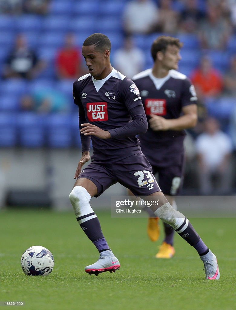 Tom Ince of Derby County during the Sky Bet Championship match between Bolton Wanderers and Derby County at the Macron Stadium on August 8, 2015 in Bolton, England.