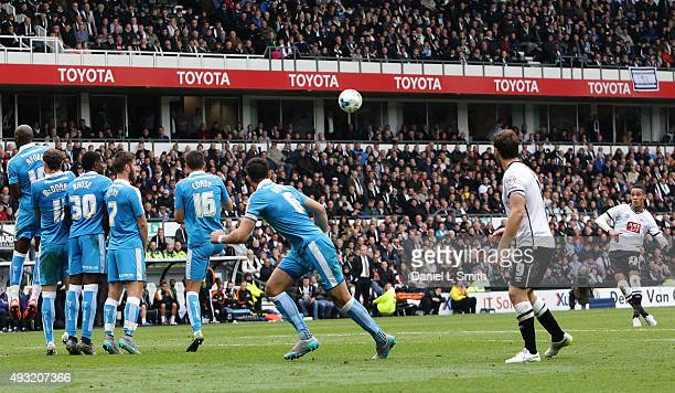 Tom Ince of Derby County FC takes a penalty kick during the Sky Bet Championship match between Derby County and Wolverhampton Wanderers at Pride Park...