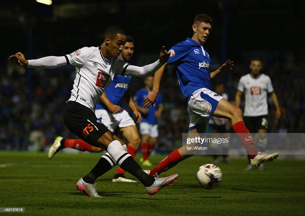 Tom Ince of Derby County takes a shot at goal during the Capital One Cup First Round match between Portsmouth v Derby County at Fratton Park on August 12, 2015 in Portsmouth, England.
