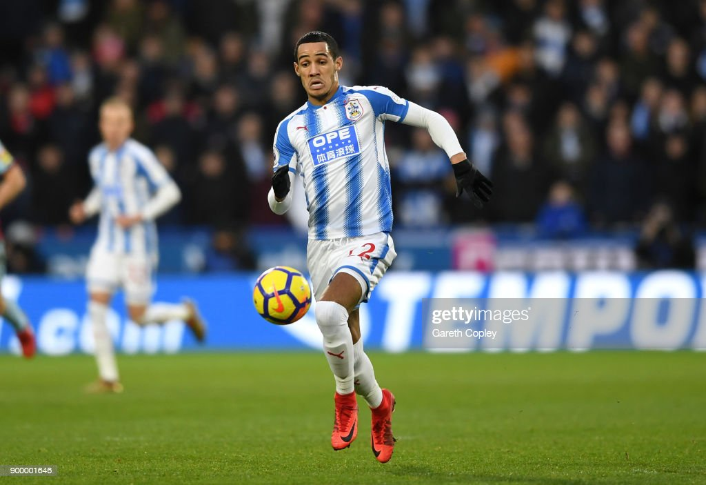 Tom Ince of Huddersfield during the Premier League match between Huddersfield Town and Burnley at John Smith's Stadium on December 30, 2017 in Huddersfield, England.