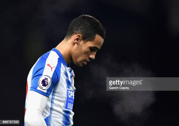 Tom Ince of Huddersfield Town breathes out showing the cold during the Premier League match between Huddersfield Town and Stoke City at John Smith's...