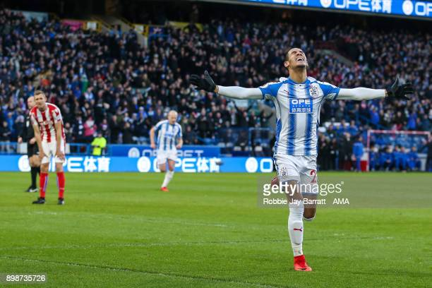 Tom Ince of Huddersfield Town celebrates after scoring a goal to make it 10 during the Premier League match between Huddersfield Town and Stoke City...