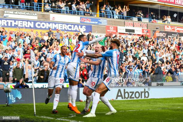 Tom Ince of Huddersfield Town celebrates after scoring a goal to make it 10 during the Premier League match between Huddersfield Town and Watford at...