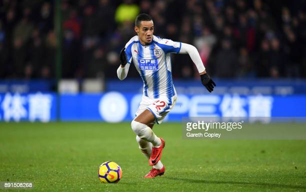 Tom Ince of Huddersfield Town during the Premier League match between Huddersfield Town and Chelsea at John Smith's Stadium on December 12 2017 in...