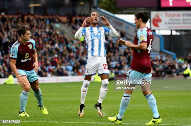 Tom Ince of Huddersfield Town reacts after missing a chance during the Premier League match between Burnley and Huddersfield Town at Turf Moor on...