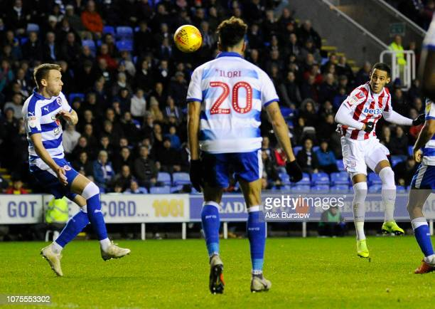 Tom Ince of Stoke City scores his team's second goal during the Sky Bet Championship match between Reading and Stoke City at Madejski Stadium on...