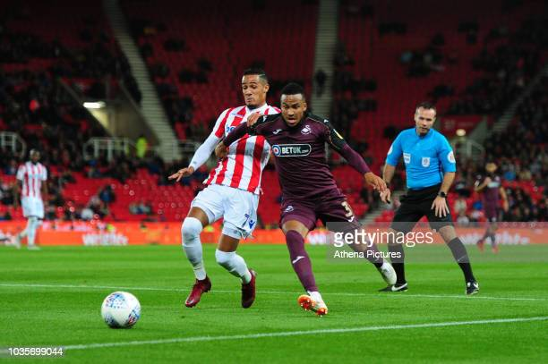 Tom Ince of Stoke City vies for possession with Martin Olsson of Swansea City during the Sky Bet Championship match between Stoke City and Swansea...