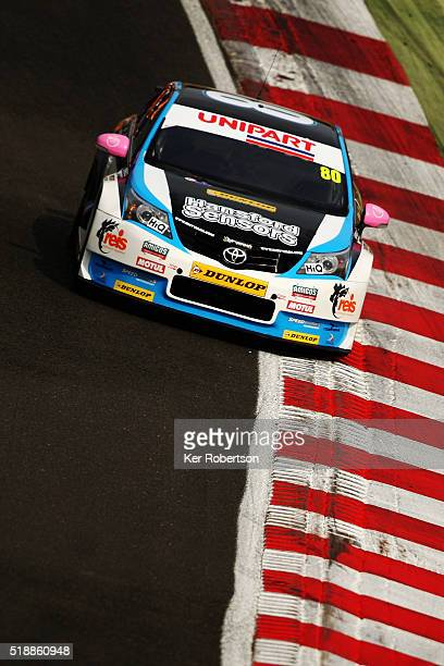 Tom Ingram drives his Speedworks Motorsport Toyota on his way to winning race one of the Dunlop MSA British Touring Car Championship at Brands Hatch...