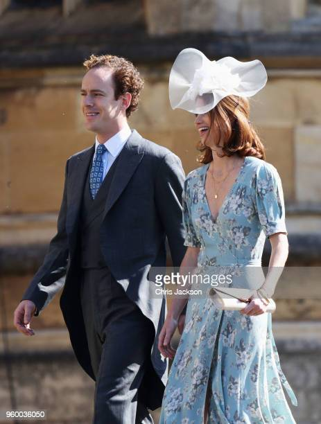 Tom Inskip and Lara Inskip arrives at the wedding of Prince Harry to Ms Meghan Markle at St George's Chapel Windsor Castle on May 19 2018 in Windsor...