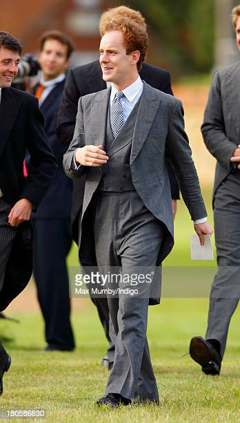 Tom Inskip attends the wedding of James Meade and Lady Laura Marsham at the Parish Church of St Nicholas in Gayton on September 14 2013 near King's...