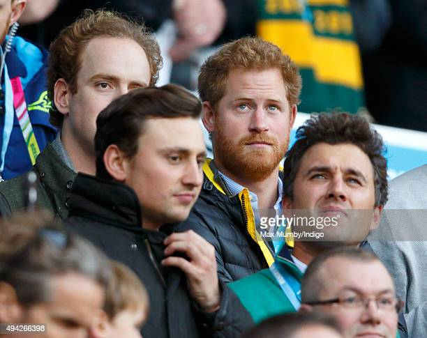 Tom Inskip, Charlie van Straubenzee, Prince Harry and Thomas van Straubenzee attend the 2015 Rugby World Cup Semi Final match between Argentina and...