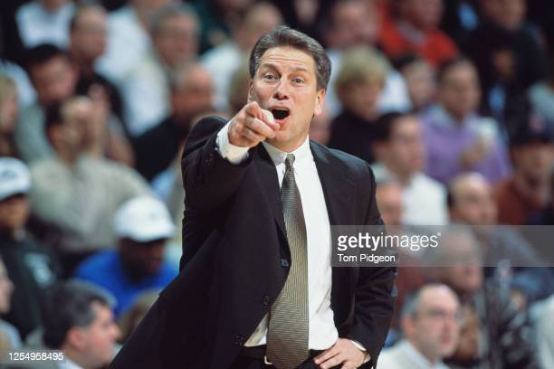 Tom Izzo, Head Coach for the Michigan State Spartans points his finger during the NCAA Big 10 Conference college basketball game against the...
