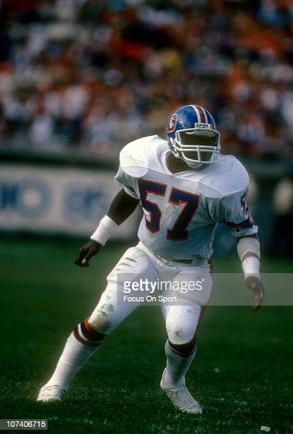 Tom Jackson of the Denver Broncos stands ready for action during an NFL football game circa 1983 Jackson played for the Broncos from 197386