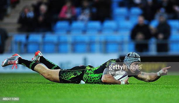 Tom James of Exeter Chiefs goes over for his side's fifth try during the European Rugby Challenge Cup match between Exeter Chiefs and La Rochelle at...