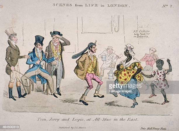 'Tom Jerry and Logic at AllMax in the East' 1821 Figures including a coalwhipper are drinking and dancing at the Coach and Horses Nightingale Lane...