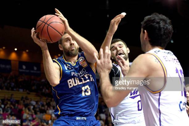 Tom Jervis of the Bullets drives to the basket during the round 11 NBL match between the Brisbane Bullets and the Sydney Kings at Brisbane Convention...