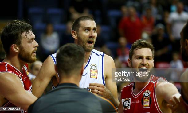 Tom Jervis of the Bullets reacts after an incident during the round three NBL match between the Illawarra Hawks and the Brisbane Bullets at...
