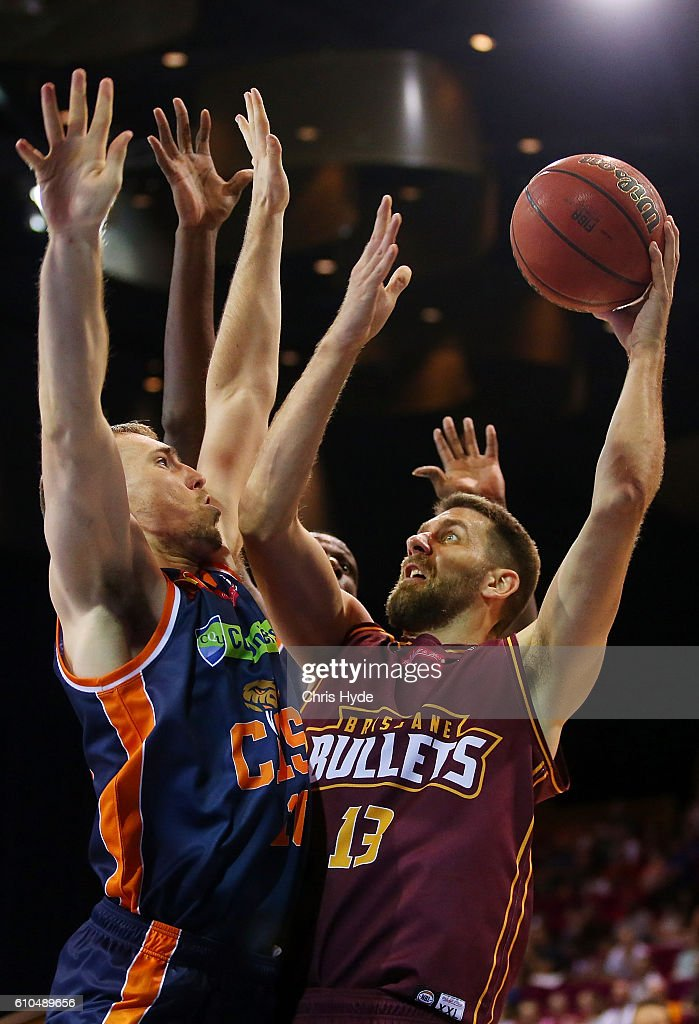 Tom Jervis of the Bullets shoots during the Australian Basketball Challenge match between Brisbane Bullets and Cairns Taipans at Brisbane Convention and Exhibition Centreon September 26, 2016 in Brisbane, Australia.