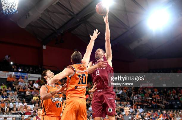 Tom Jervis of the Bullets shoots during the round 10 NBL match between the Cairns Taipans and the Brisbane Bullets at Cairns Convention Centre on...