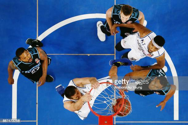 Tom Jervis of the Bullets with a dunk during the round nine NBL match between the New Zealand Breakers and the Brisbane Bullets at Spark Arena on...